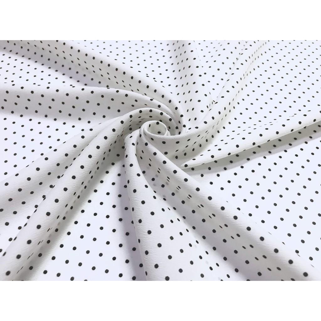 Vải lụa Hàn - Họa tiết chấm bi nhí nền trắng