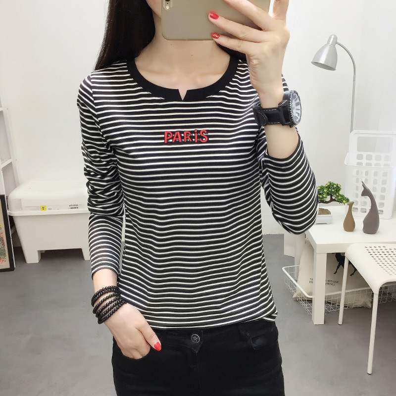 2019Kami ShinpoFashionable cotton collar striped letters embroidered shirt long-sleeved bottoming shirt cotton spandex s