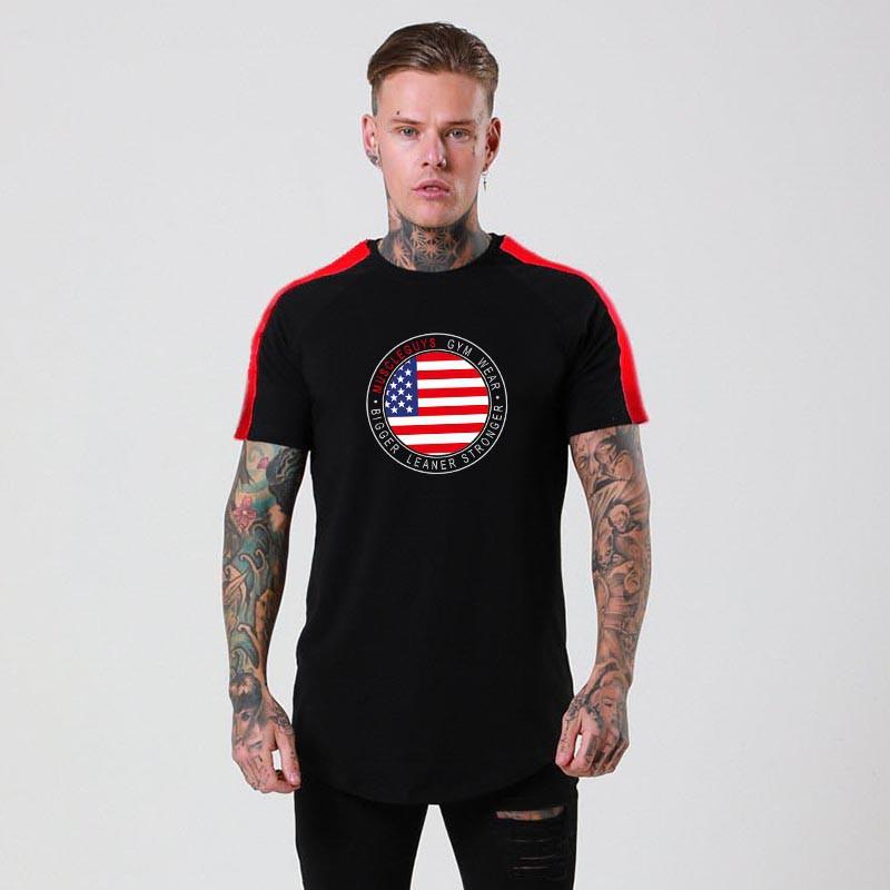 Flag Graphic Tees Summer Tops Short Sleeves Stitiching Fashion Style Tshirts