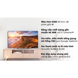 Android Tivi OLED Sony 4K 55 inch KD-55A8G ( HÀNG TỒN KHO BẢO HÀNH CHÍNH HÃNG 2 NĂM )
