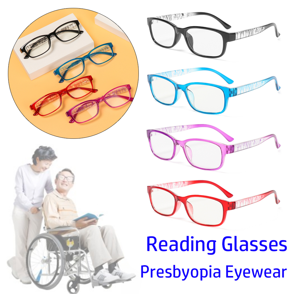 👒OSIER🍂 +1.0~+4.0 Reading Glasses High-definition Spectacle Frames Presbyopia Eyeglasses Reduces Eye Strain PC AC With Diopter Resin Lens Hyperopia Eyewear/Multicolor