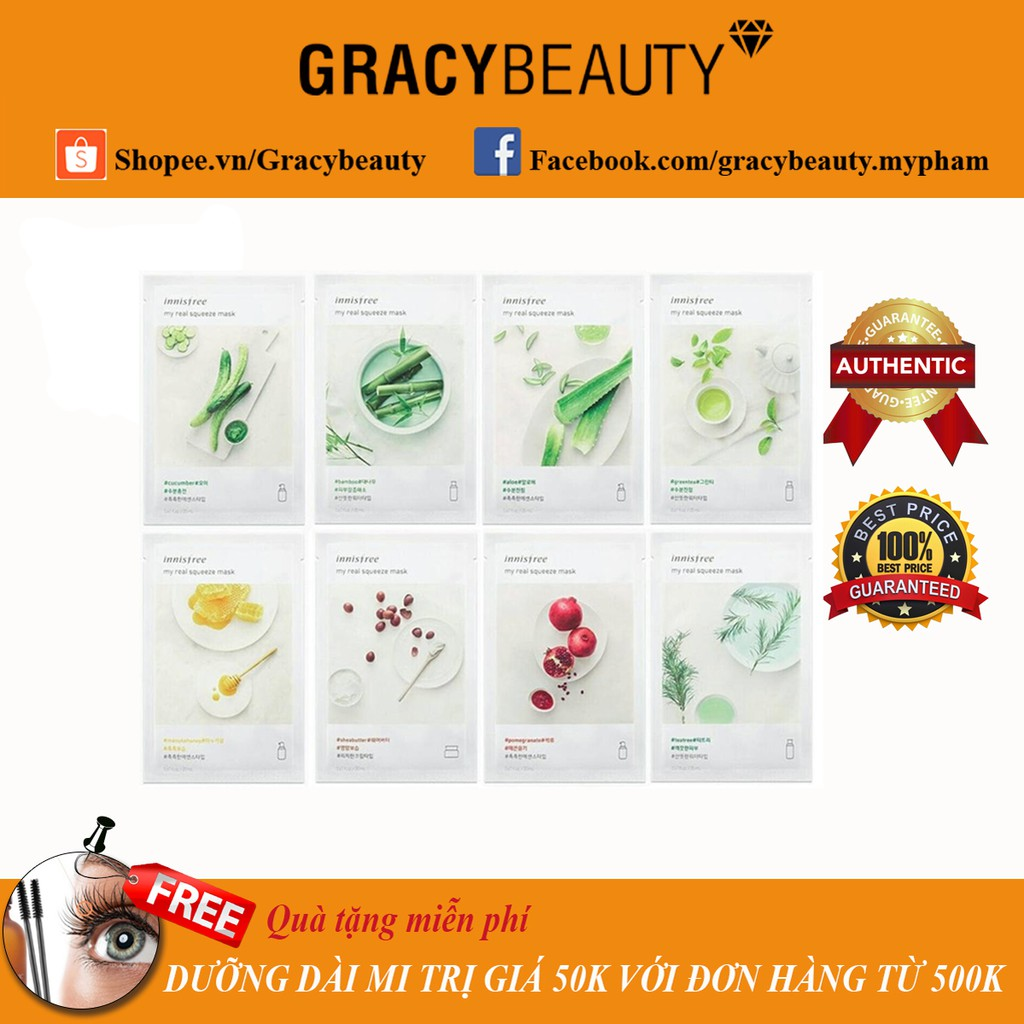 Mặt nạ giấy Innisfree My Real Squeeze Mask Sheet (Mẫu mới) - 2425457 , 846912729 , 322_846912729 , 19000 , Mat-na-giay-Innisfree-My-Real-Squeeze-Mask-Sheet-Mau-moi-322_846912729 , shopee.vn , Mặt nạ giấy Innisfree My Real Squeeze Mask Sheet (Mẫu mới)