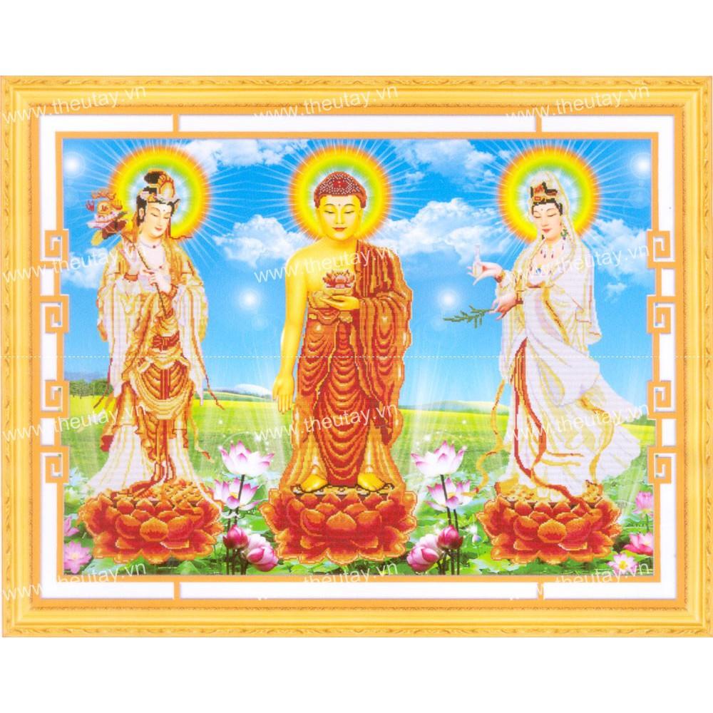 Tranh thêu chữ thập chưa thêu Tây Phương Tam Phật 8132