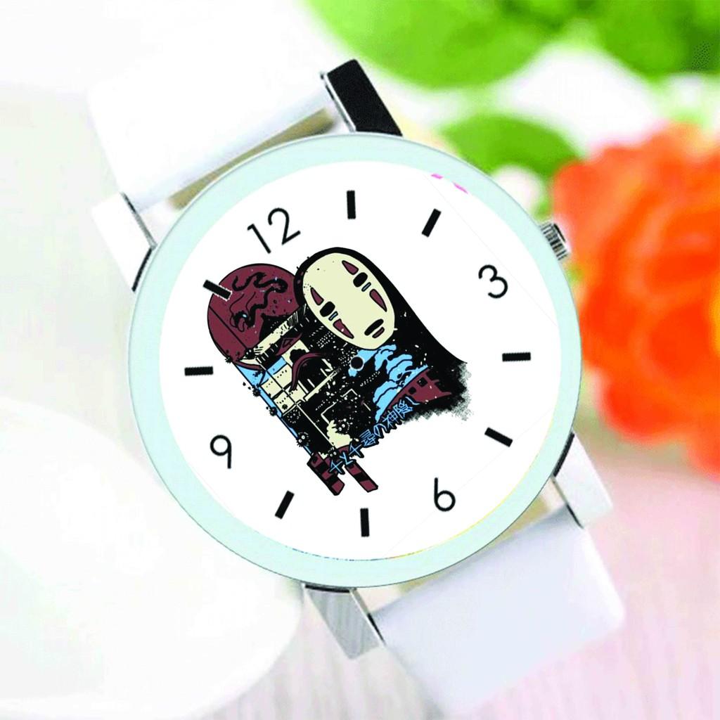 Đồng hồ đeo tay nam nữ in hình Vùng Đất Linh Hồn Vô Diện Bồ Hóng Spirited Away Ghibli anime chibi thời trang dễ thương
