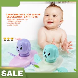 finifly Amusing Cartoon Cute Animal Dog Water Clowork Toy Baby Wind Up Bathroom Bath Toy Infant Babies For