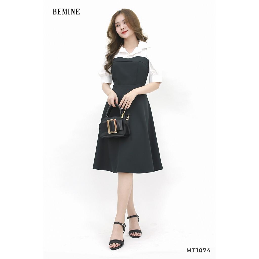 - Đầm đen tay phồng phối trắng BEMINE MT1074DEN150