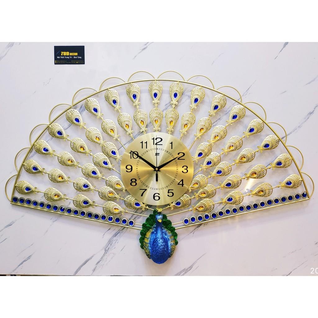 Đồng hồ treo tường chim công hình quạt WM94 chính hãng JJT