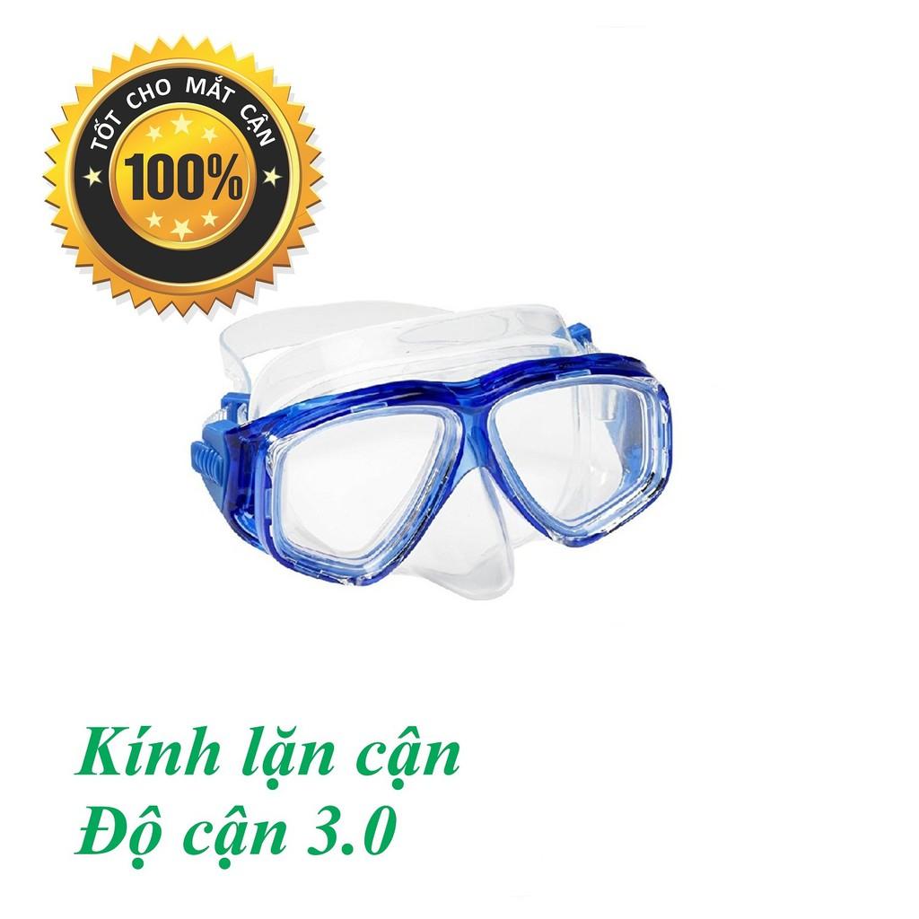 Mặt nạ lặn CẬN 3.0 độ, mắt KÍNH CƯỜNG LỰC POPO Collection (Xanh biển)