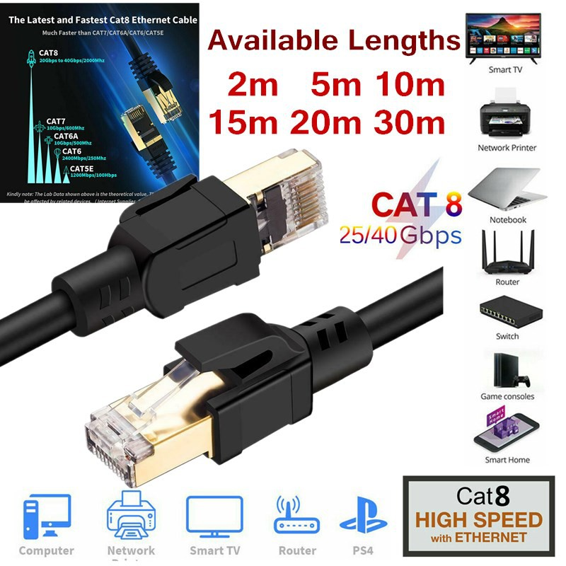 RJ45 CAT8 Network Ethernet Cable 20 เมตร 40Gbps SSPT Gigabit LAN Patch Cord