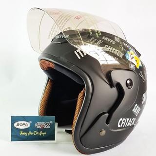 [DEAL HOT] Mũ bảo hiểm BOPA 3/4 Tem chữ phối hình cute phù hợp với dân phượt siêu hot