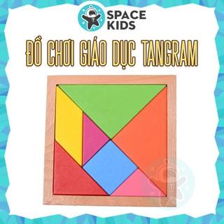 Đồ chơi gỗ thông minh Sách Tangram từ tính lắp ghép các khối tạo hình cho trẻ tư duy sáng tạo – Space Kids