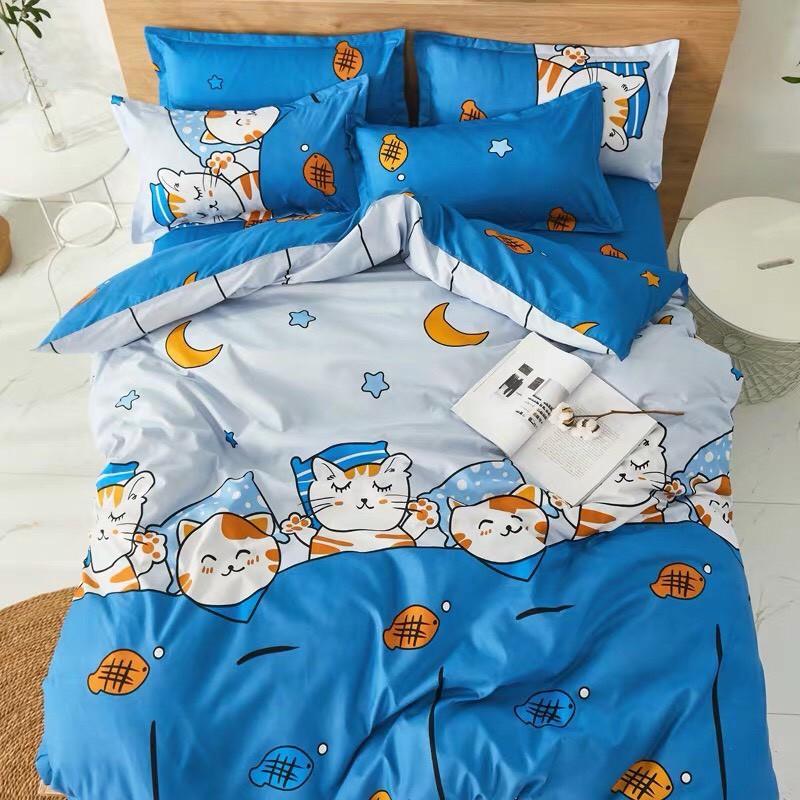Bộ Chăn Ga gối cotton poly Emmidecor - mẫu Mèo xanh ăn cá