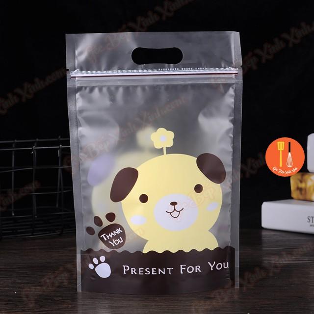 Túi zip lock cún nâu khóa kéo đựng bánh kẹo 23cm - 10 túi