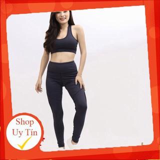 Bộ quần áo tập gym yoga thể thao thun co giãn màu tím than có mút ngực Liên hệ mua hàng 084.209.1989