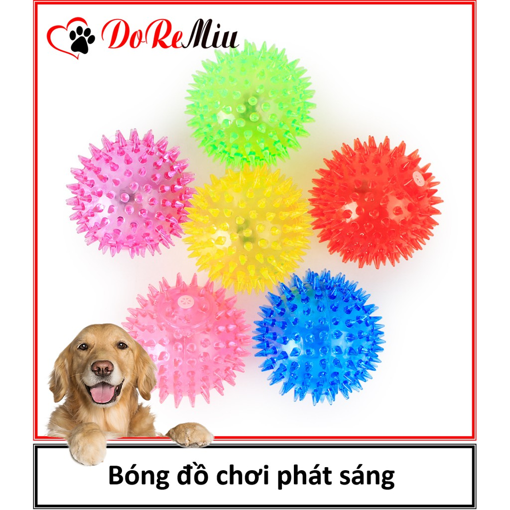 Bóng đồ chơi phát sáng cho bé 6cm có âm thanh đồ chơi chó mèo