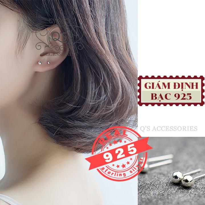 Khuyên tai nụ bạc trơn bông tai nụ tròn tối giản S925 BASIC Silver Earrings QACCESSORIES - CÓ GIÁM ĐỊNH BẠC 925
