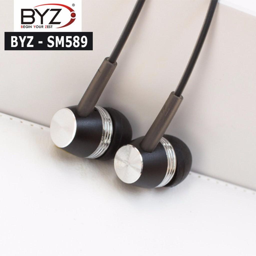 Tai nghe cho các loại điện thoại Smartphone chân 3.5mm BYZ SM589, có mic nghe điện thoại