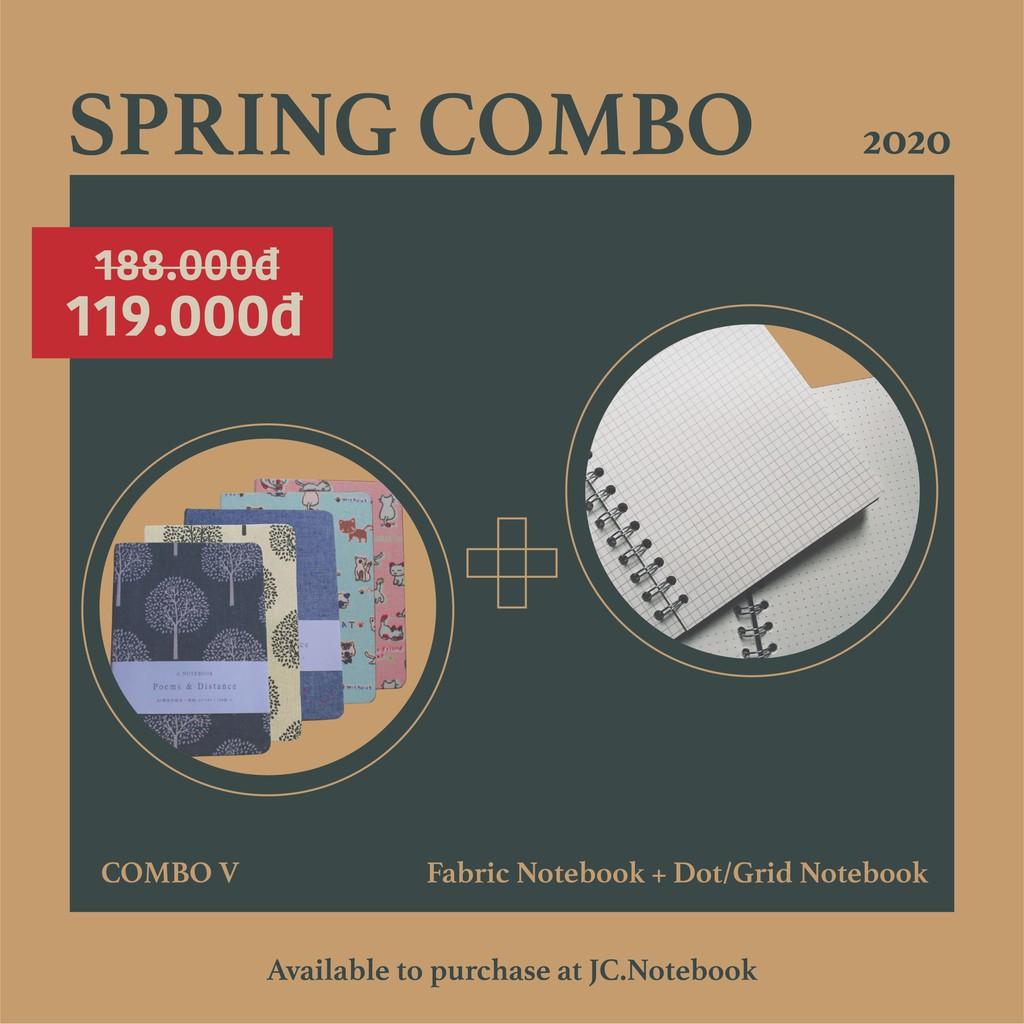 COMBO 5 - 1 Dot/Grid Notebook + 1 Fabric Notebook - Combo sổ tay