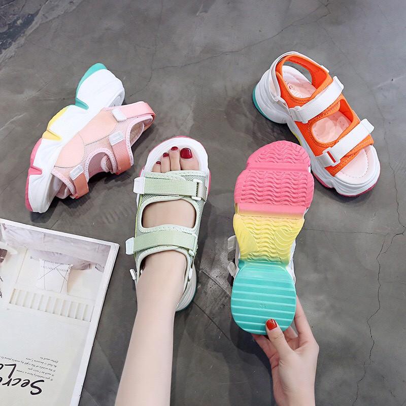 Sandal nữ đế 3 màu quai dán đế siêu độn siêu cao hot TREND