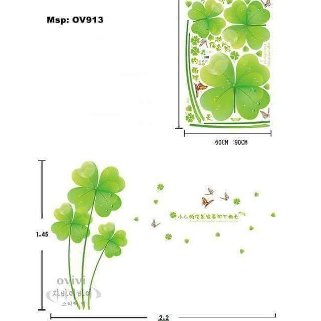 Decal dán tường Hoa cỏ 4 lá