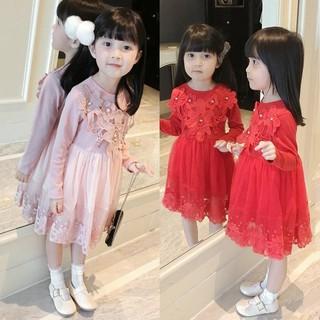 VK2 _ Váy Đầm Bé Gái Dài Tay Công Chúa, đầm công chúa xinh xắn cho bé