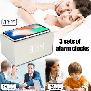 *Ready Stock* 10W Qi Alarm Wireless Charger Clock Digital LED Desk Thermometer For iPhone 11/X