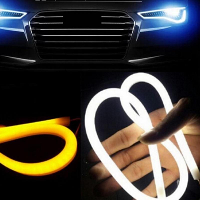 45cm 1X Red Car Flexible Tube LED Strip DRL Light Headlight Amber