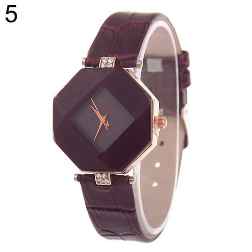 Đồng hồ mặt hình thoi dây đeo giả da cho nữ