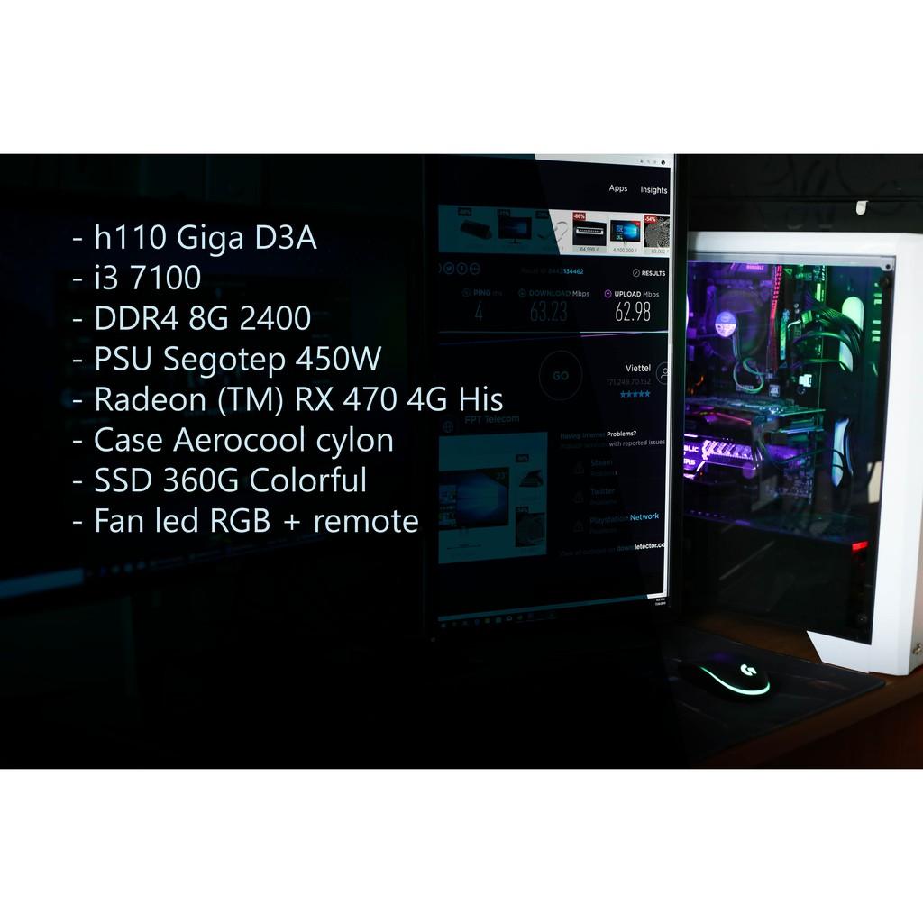 Bộ Máy Tính I3 7100 H110 Ram 8G SSD 360G Case Fan Led RGB RX470 4G Giá chỉ 9.800.000₫