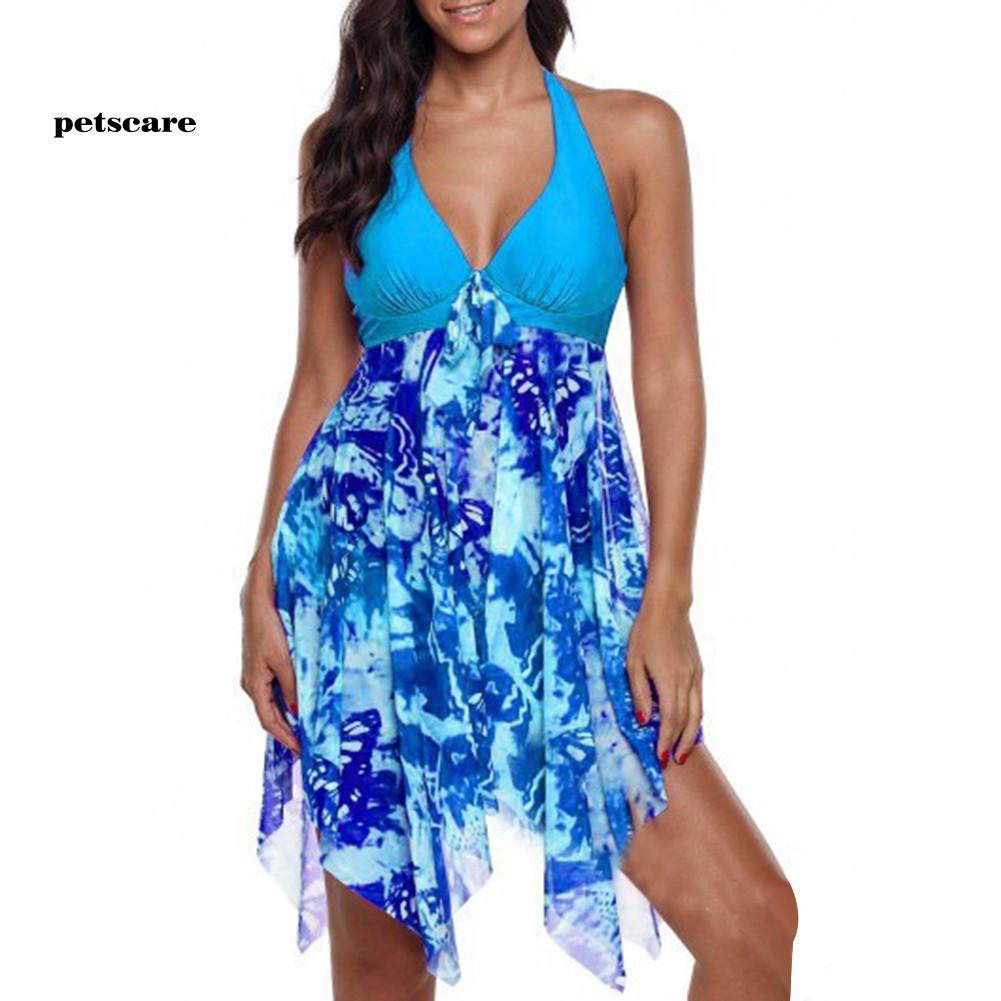 Ptcr_2Pcs Flower Print Halter Backless Women Swimdress Briefs Plus Size Tankini Set