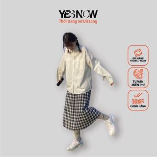 Chân váy dài kẻ ô vintage phong cách Ulzzang Hàn Quốc – Chân váy bút chì kẻ xẻ tà