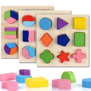 Puzzle Kayu Montessori Bentuk Geometri untuk Edukasi Matematika