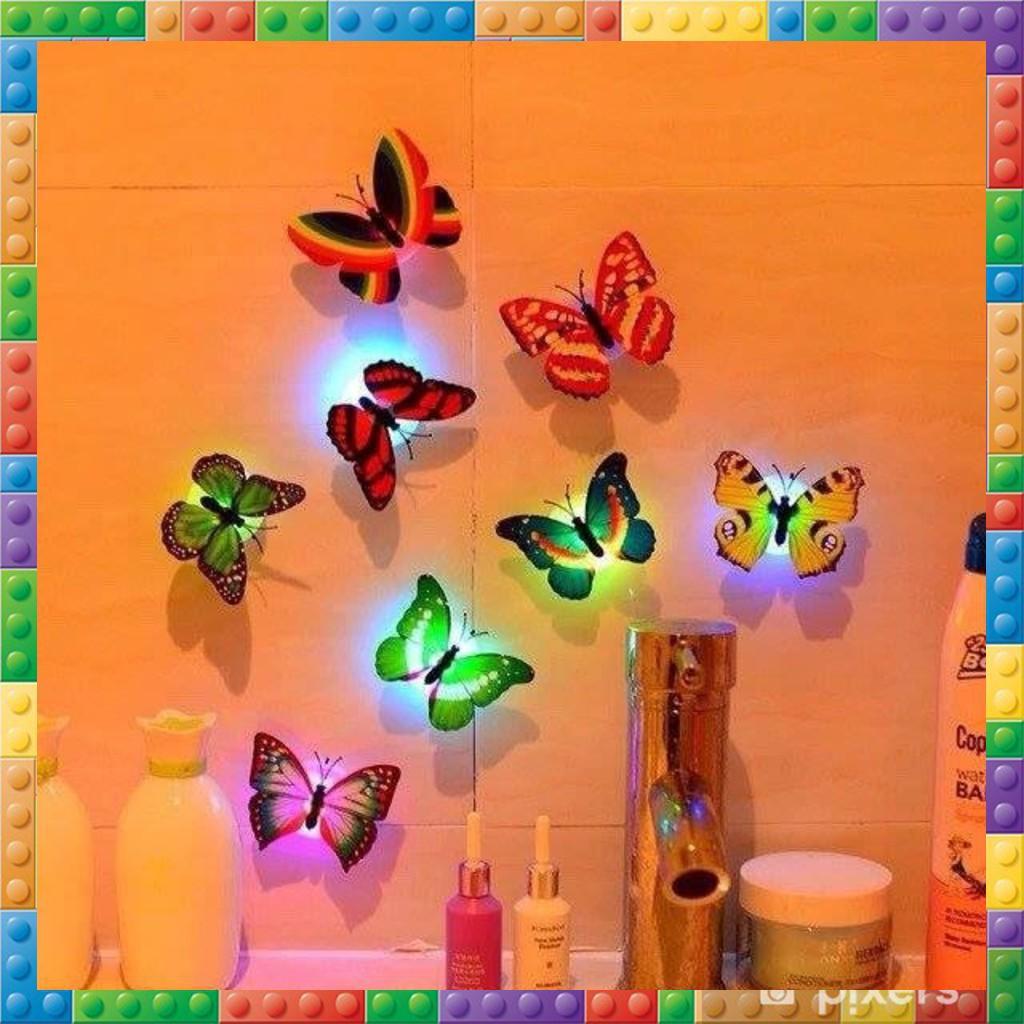 Sét 2 đèn led phát quang dán tường bướm xinh xắn trang trí