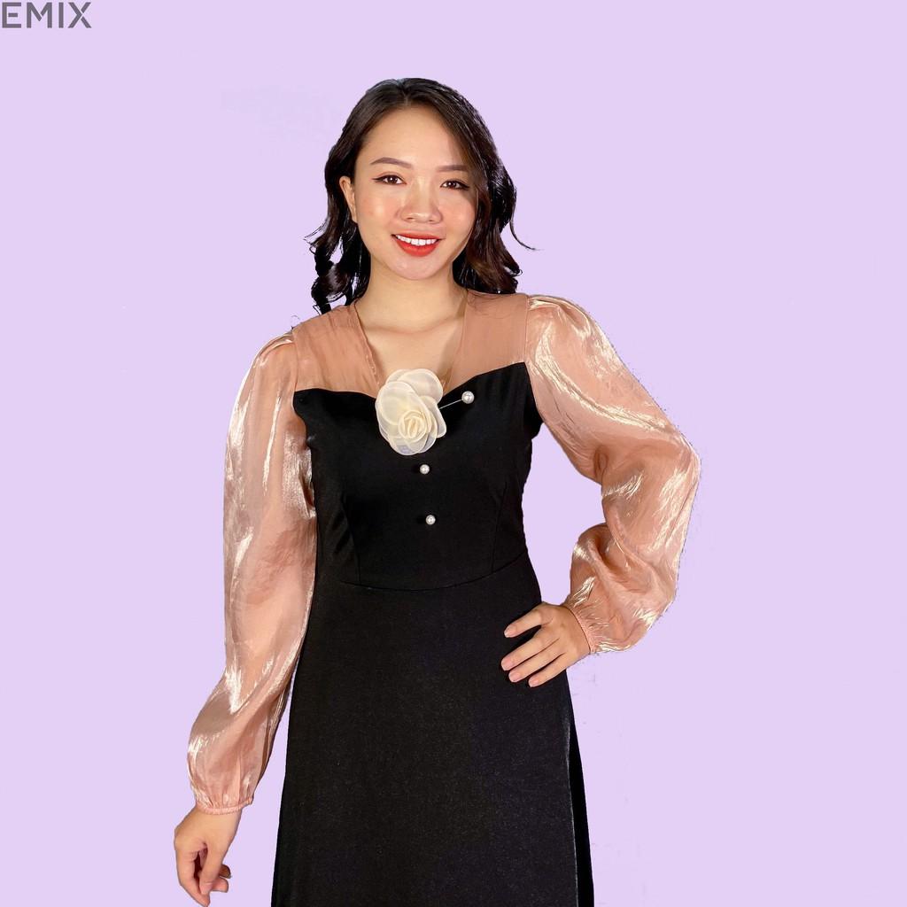 Mặc gì đẹp: Tung bay với Váy nữ cài hoa ngọc EMIX (màu đen), dáng dài, tay voan bồng, váy xòe, chất umi co giãn, mềm mịn