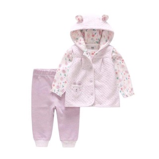 Set 3 chi tiết gồm áo gile, áo và quần thu đông cho bé gái