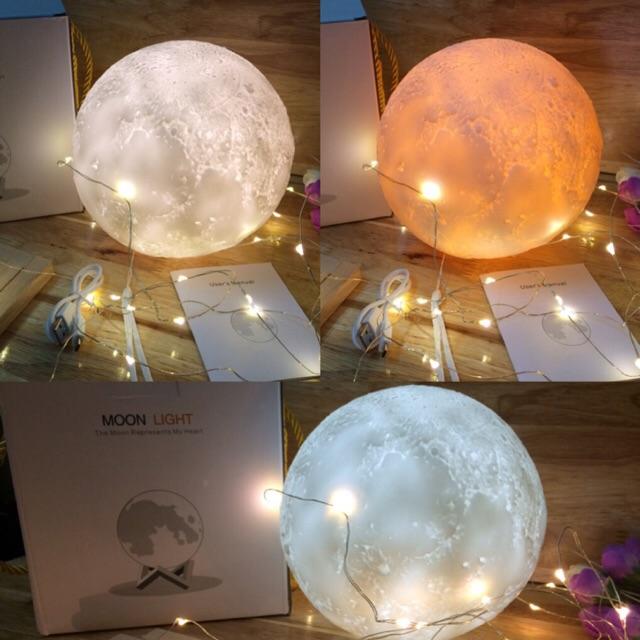 [BH 1 ĐỔI 1] Đèn Ngủ Mặt Trăng ❤️FREE SHIP❤️ size 12-15-17-20cm(cảm biến) tặng kèm đế gỗ