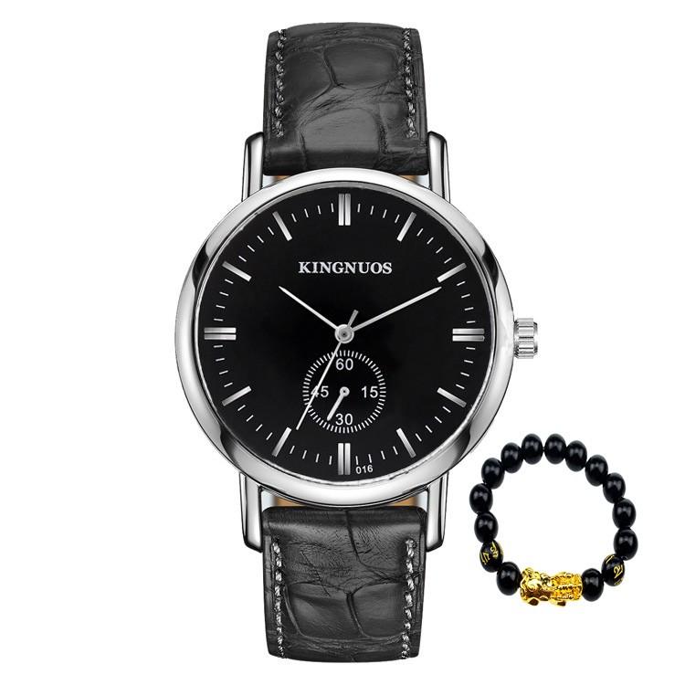 (ƯU ĐÃI ĐẶC BIỆT) Đồng hồ nam KINGNUOS K021 dây da cao cấp + Tặng vòng tay cao cấp