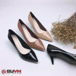 Giày cao gót da bóng nhọn 5cm Suvn