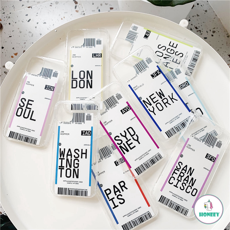 INS Air Ticket Hong Kong London Transparent Soft TPU Case for IPhone 11 Pro Max 6s 7 8 Plus X XS XR