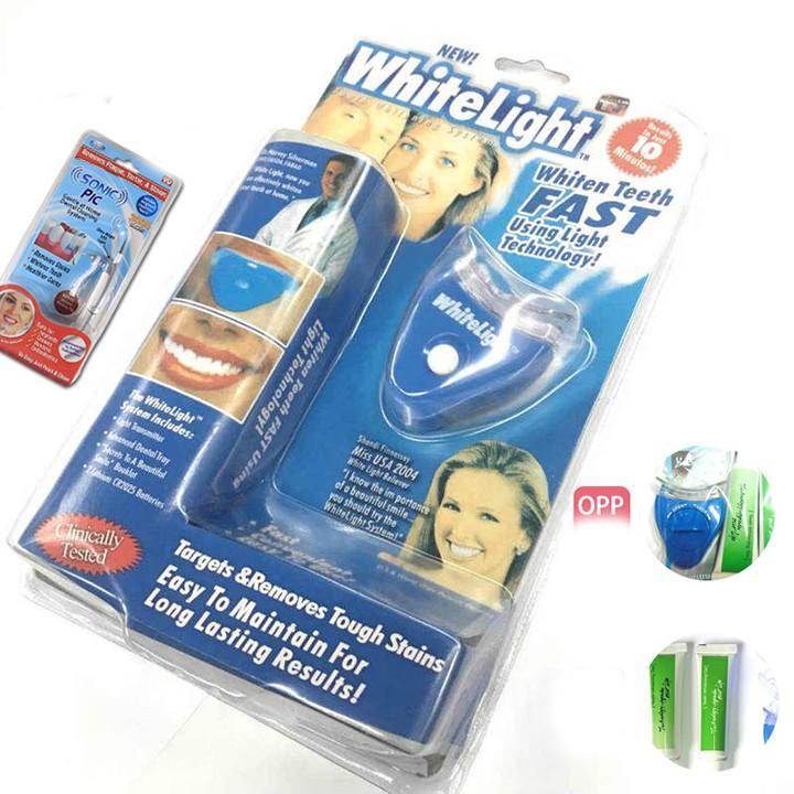Bộ sản phẩm Máy tẩy trắng răng + 2 Gel Chính Hãng WhiteLight tiện lợi chuyên nghiệp cầm tay