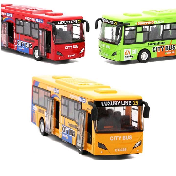 Ô tô buýt City Bus xe đồ chơi trẻ em xe bằng kim loại chạy cót có đèn và âm thanh