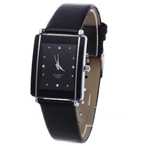 Đồng hồ mặt chữ nhật đính đá, dây đeo giả da thời trang cho nam/nữ