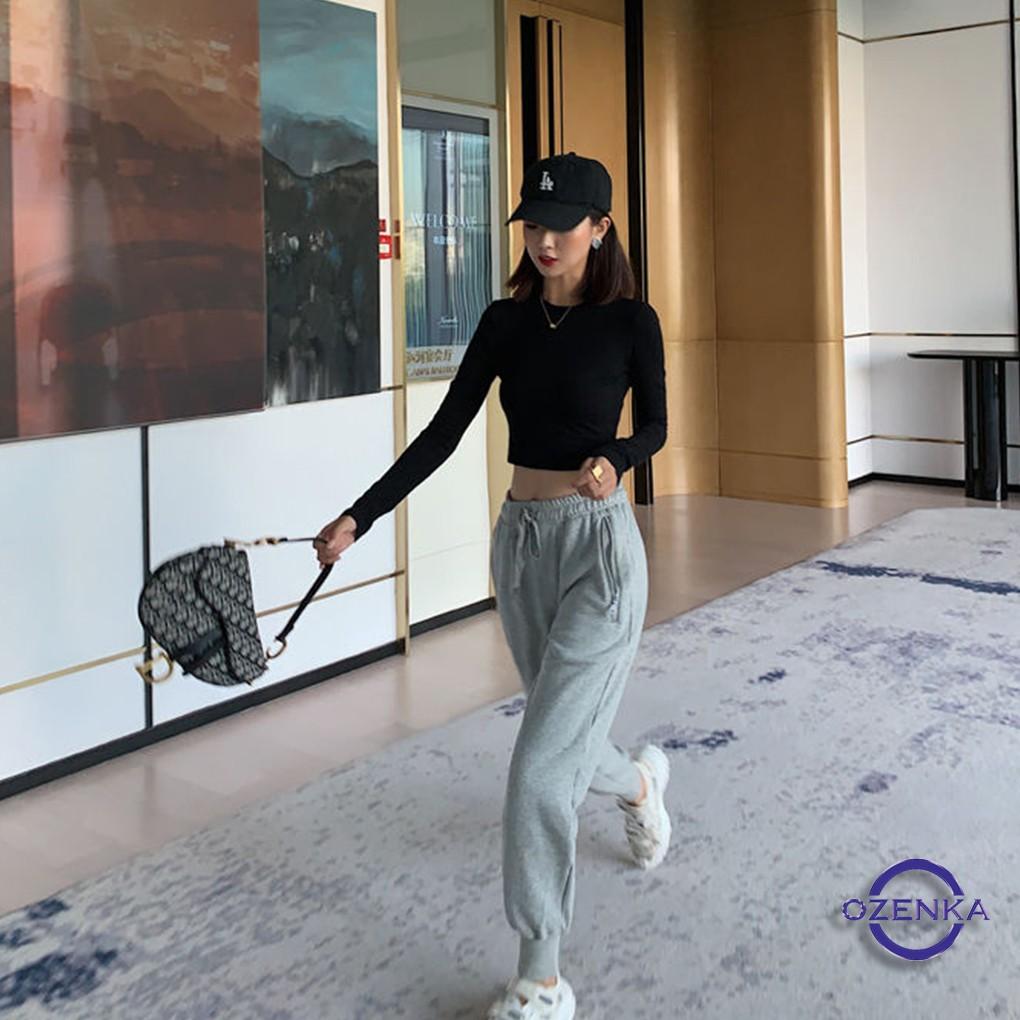 Áo croptop tay dài ôm nữ đen trắng thun gân OZENKA , áo thun crt body 100% cotton free size 40 đến 53 kg CRT 263