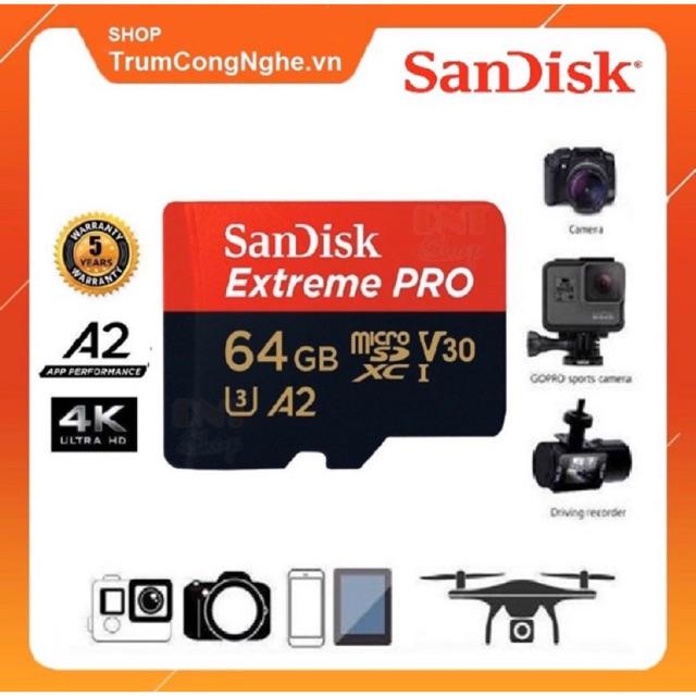 Thẻ nhớ Extreme PRO A2 64GB V30 U3 4K Class 10 170MB/s - Tốc Độ Siêu Cao