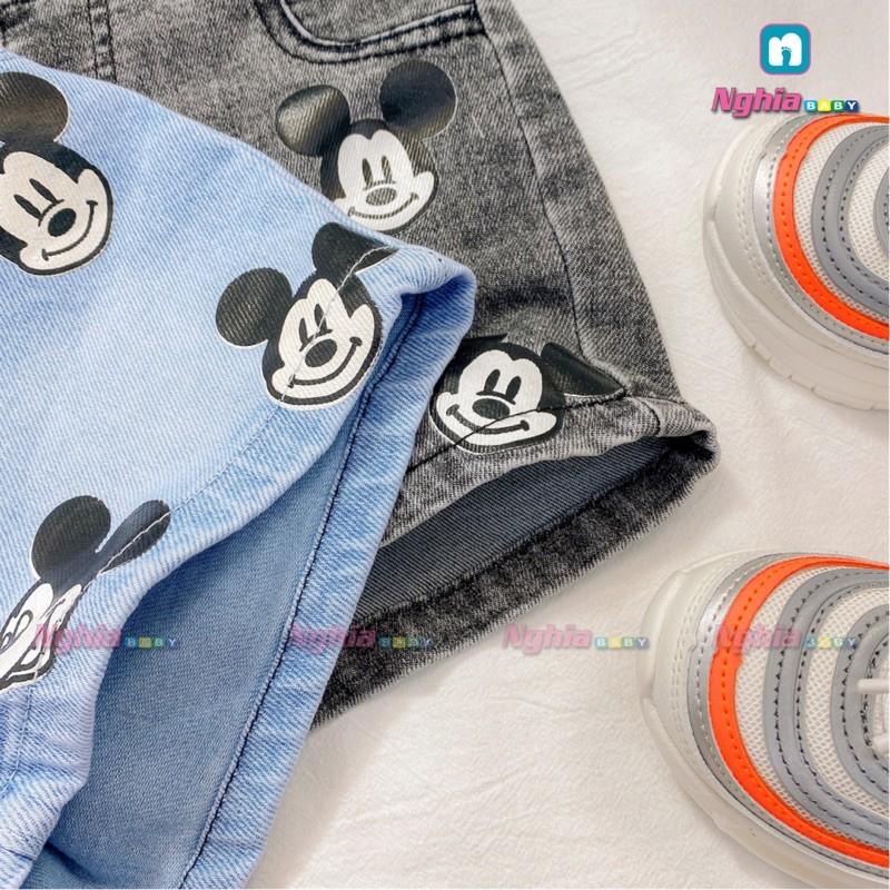 Quần sọt jeans mickey co dãn NGHĨA BABY Z1 cho bé gái!