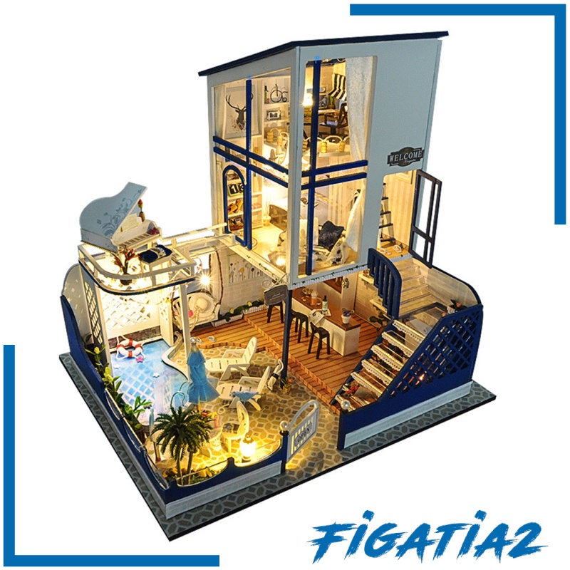 [FIGATIA2] Wooden Doll House Furniture Toy Wooden Dollhouse Miniature Furniture