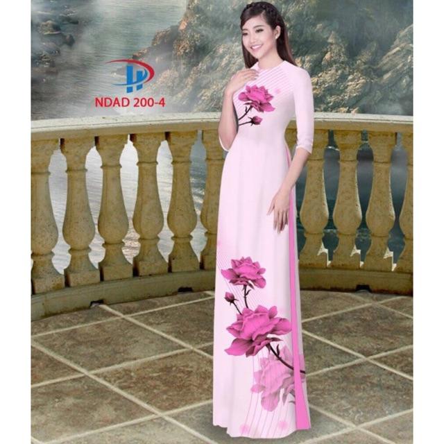 Vải áo dài hoa 3D