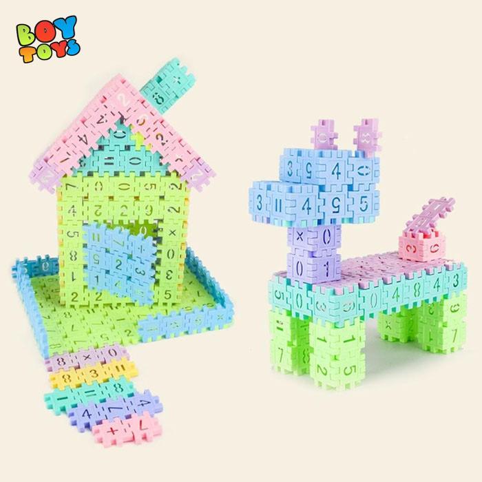 Bộ đồ chơi 50 khối nhựa xây dựng Building block thú vị để bé chơi v