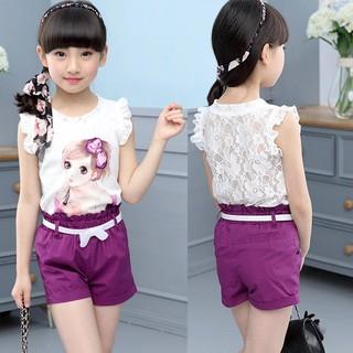 Bộ đồ bé gái - sét đồ cho bé gái xuất Hàn dễ thương kèm thắt lưng