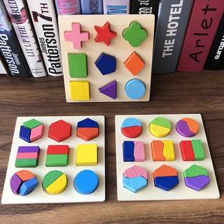 Đồ Chơi Gỗ – Bảng Xếp hình bằng gỗ, giải đố hình học tư duy logic cho bé – TG07